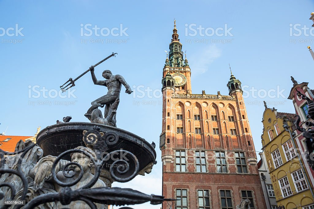 Fountain of the Neptune in old town of Gdansk, Poland stock photo