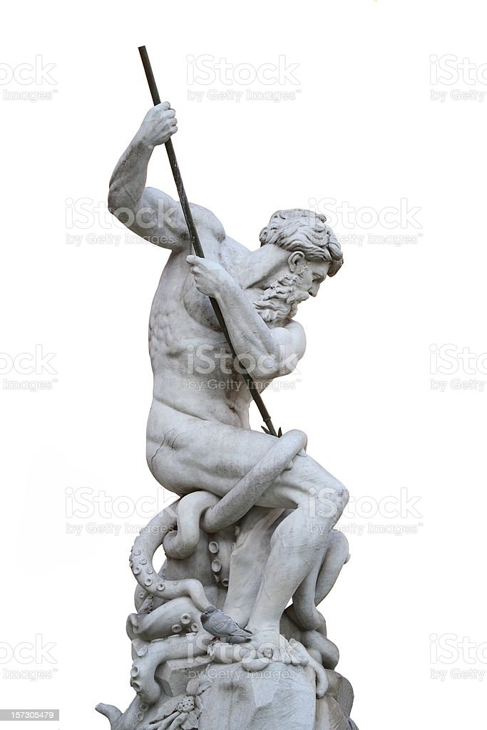 Fountain of the Neptune isolated on white, Piazza Navona-Rome royalty-free stock photo