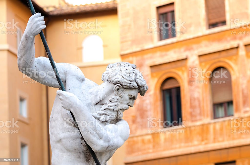 Fountain of the Neptune, Piazza Navona in Rome Italy stock photo