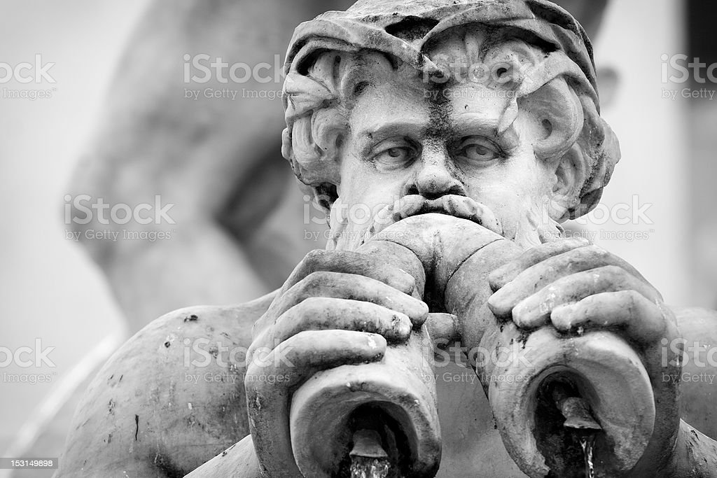 Fountain of the Neptune Statue Detail in Monochrome stock photo