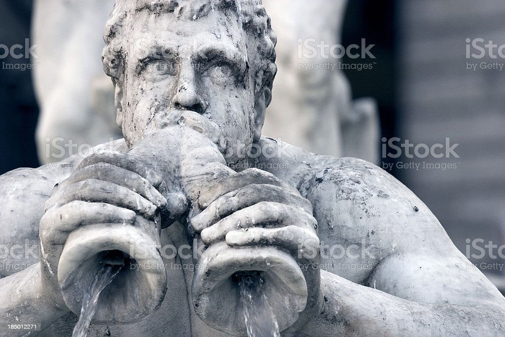 Fountain of the Neptune Statue Detail in Monochrome royalty-free stock photo