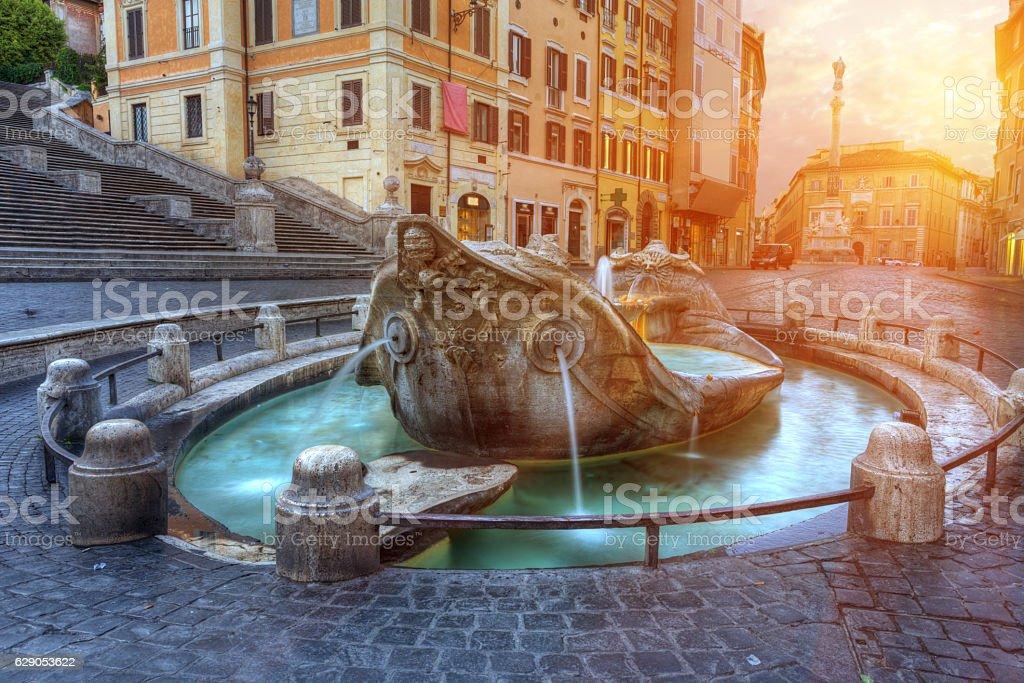 Fountain of the Old Boat, Fontana della Barcaccia. Rome. Italy. stock photo