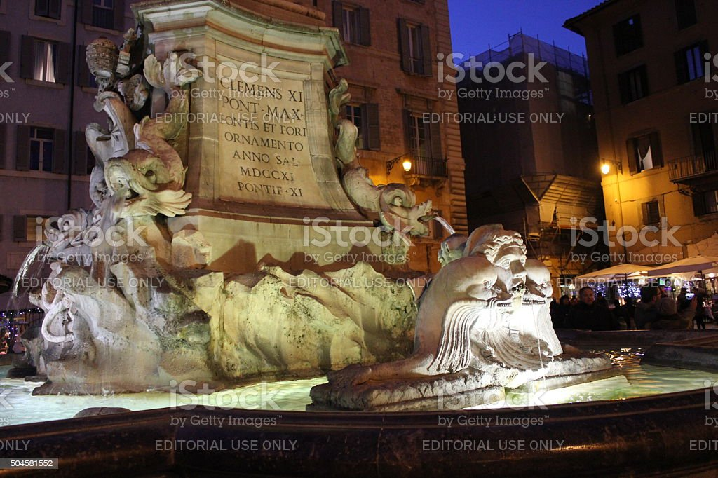 Fountain of the Pantheon in Rome at night stock photo