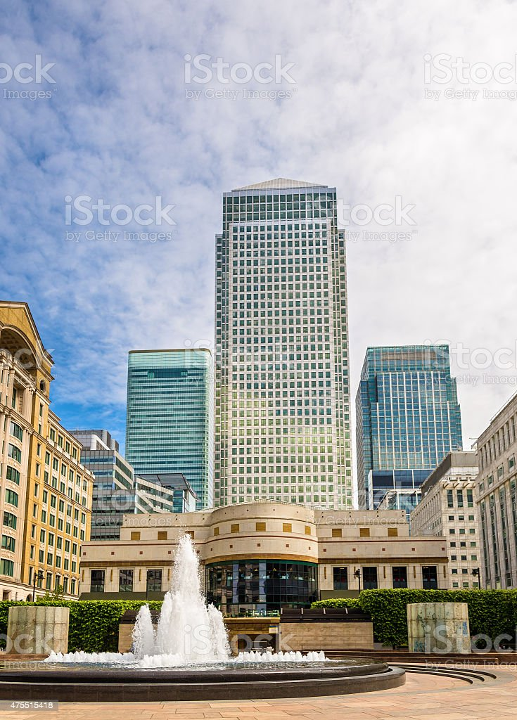 Fountain on Cabot Square in Canary Wharf business district stock photo