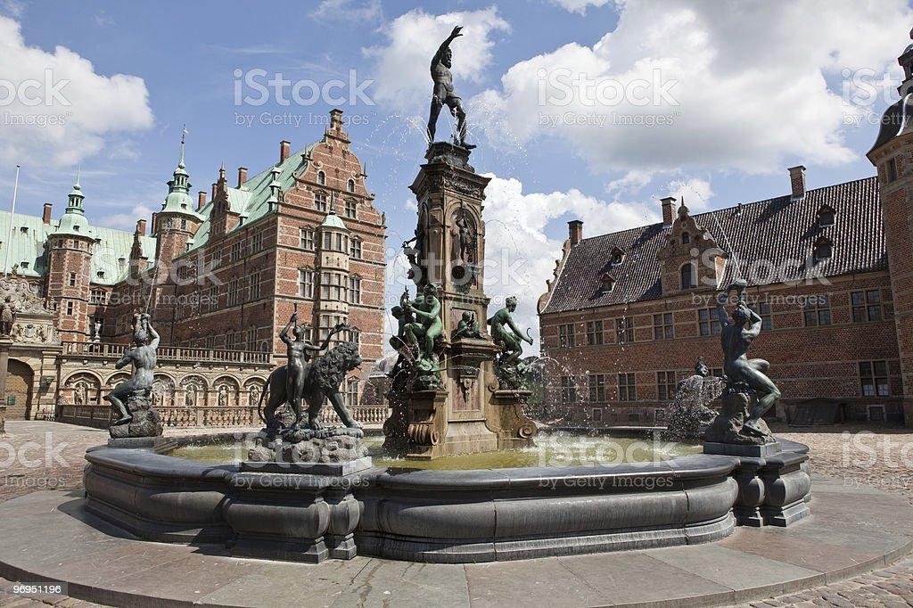 Fountain On Frederiksborg Castle stock photo