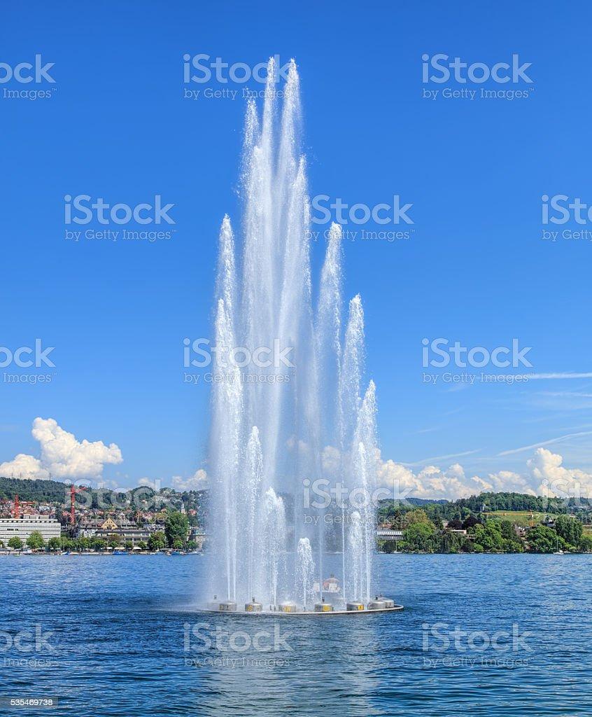 Fountain on Lake Zurich stock photo