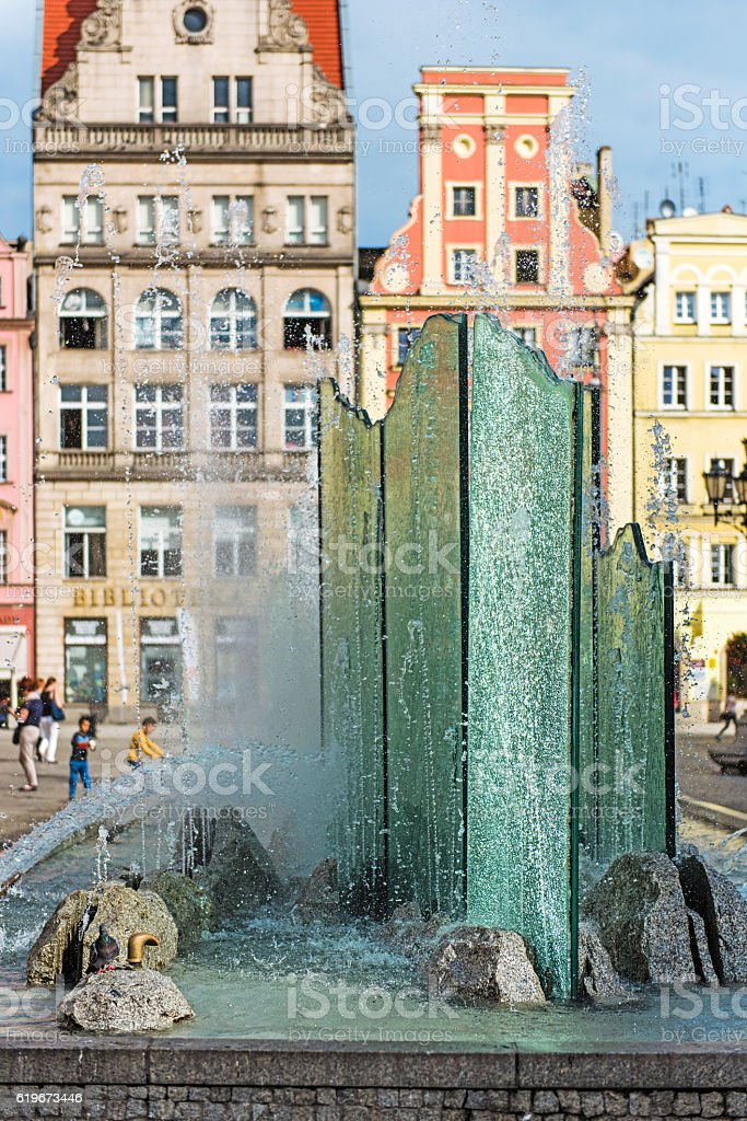 Fountain on market square in Wroclaw, Poland stock photo