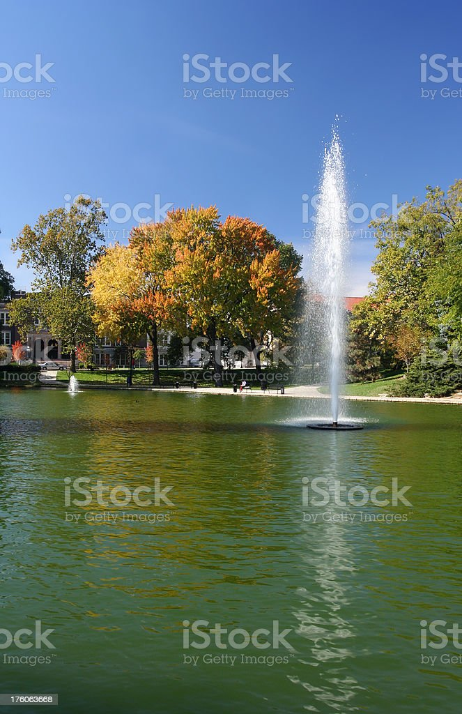 fountain on Ohio State University campus stock photo