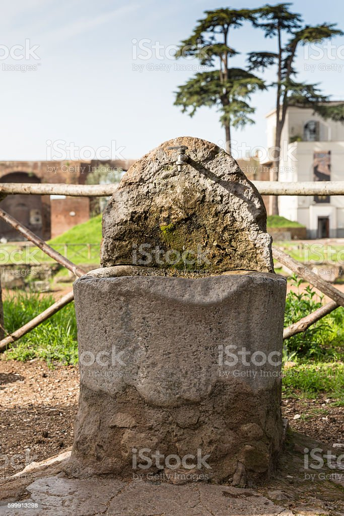 fountain on Palatin Hill, Rome, Italy stock photo