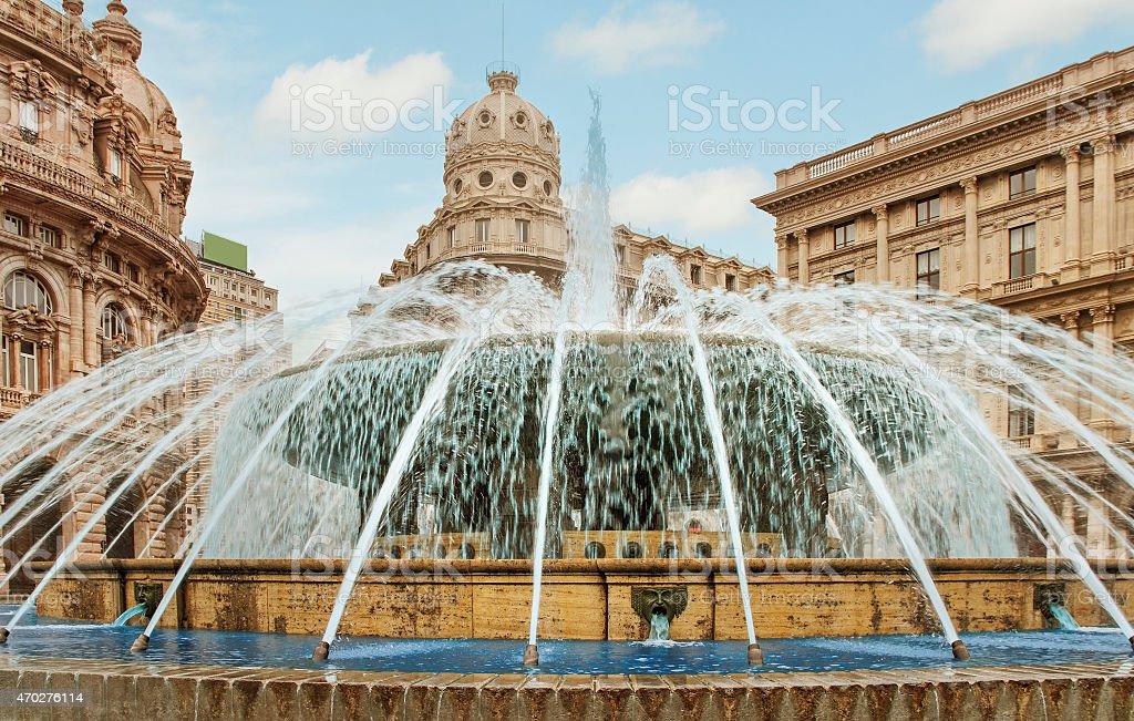 Fountain on Piazza de Ferrari. stock photo