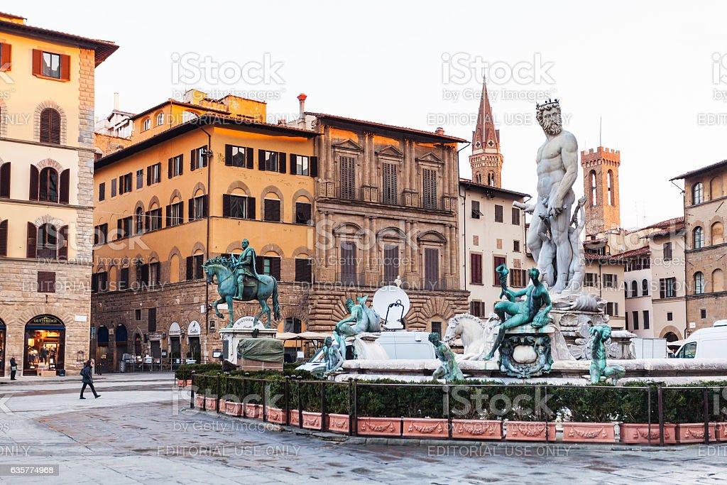 Fountain on Piazza della Signoria in Florence city stock photo