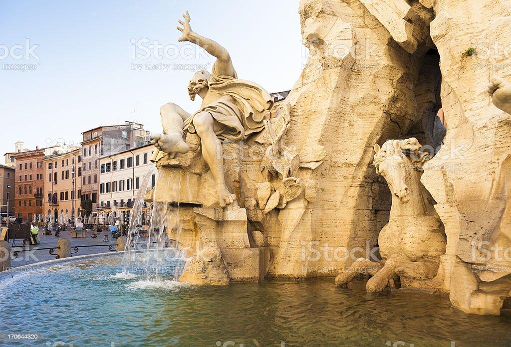 Fountain on Piazza Novona, Rome stock photo