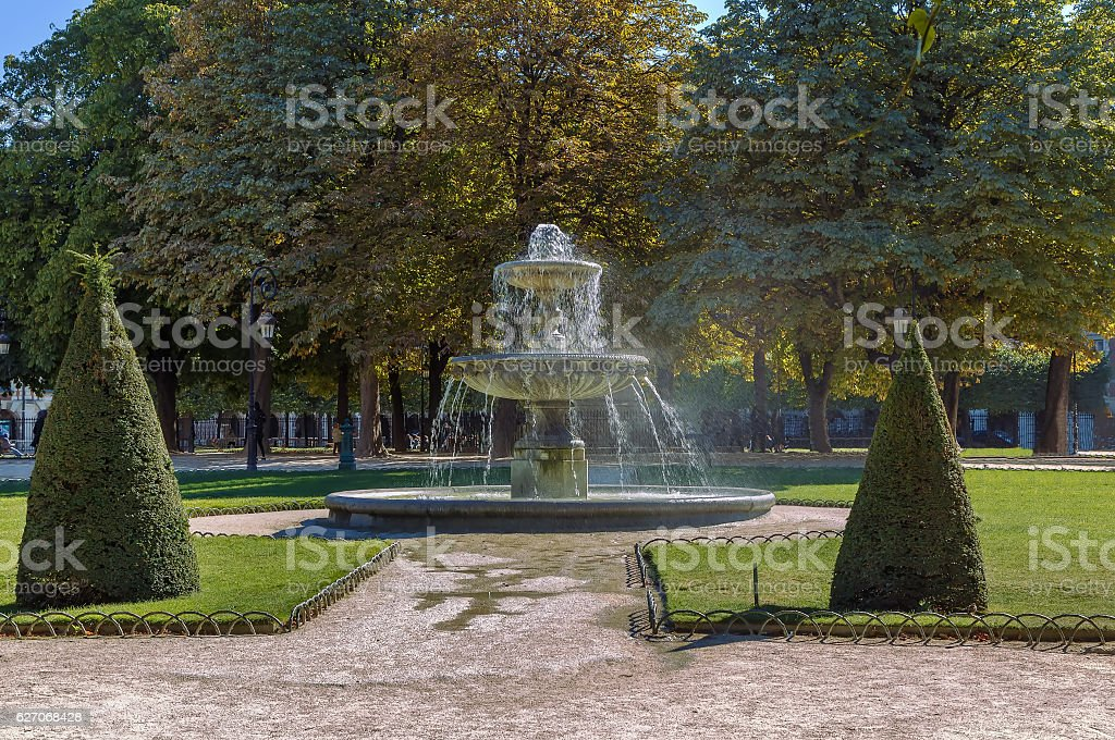 Fountain on Place des Vosges, Paris stock photo