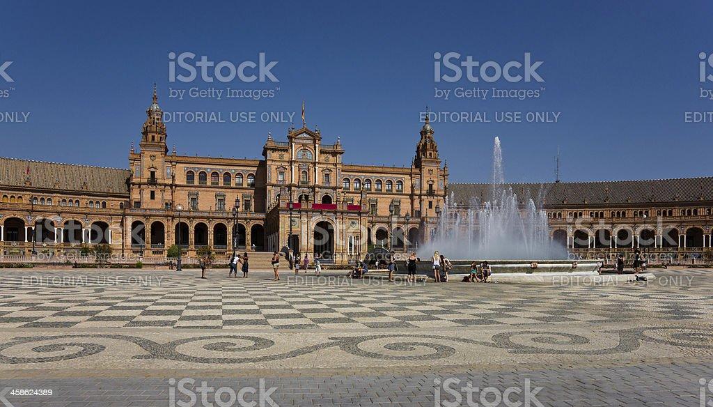 Fountain on Plaza de Espana in Seville, Spain royalty-free stock photo