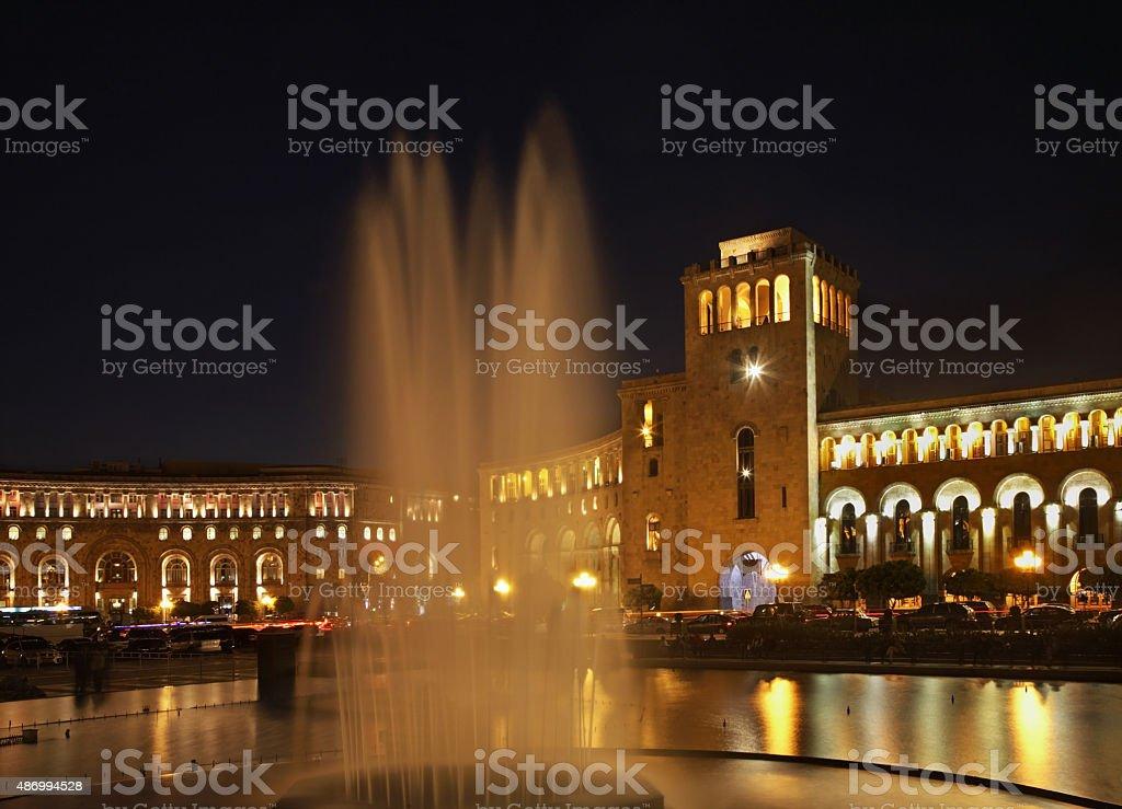 Fountain on Republic Square in Yerevan. Armenia stock photo