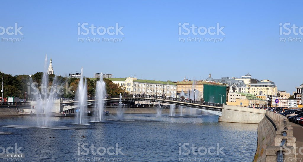 fountain on river stock photo