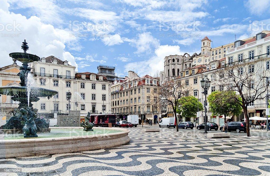 Fountain on Rossio Square in Lisbon, Portugal stock photo