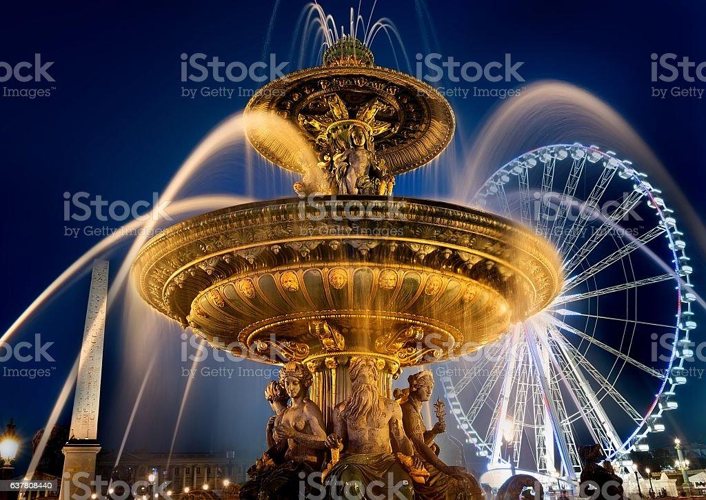 Fountain on square of Concorde stock photo