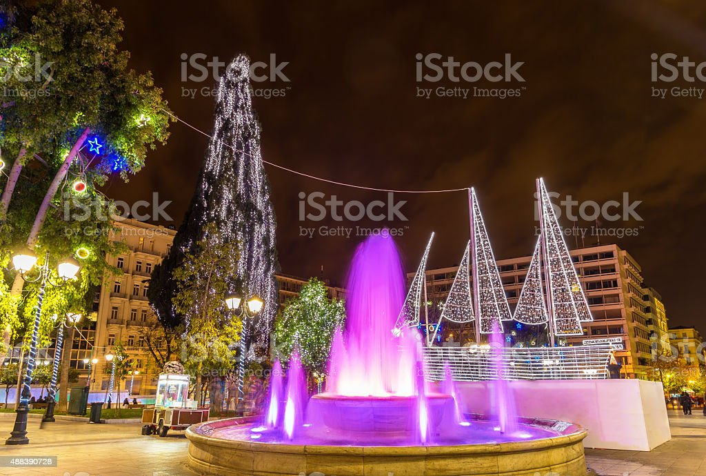 Fountain on Syntagma square in Athens on New Year's eve stock photo