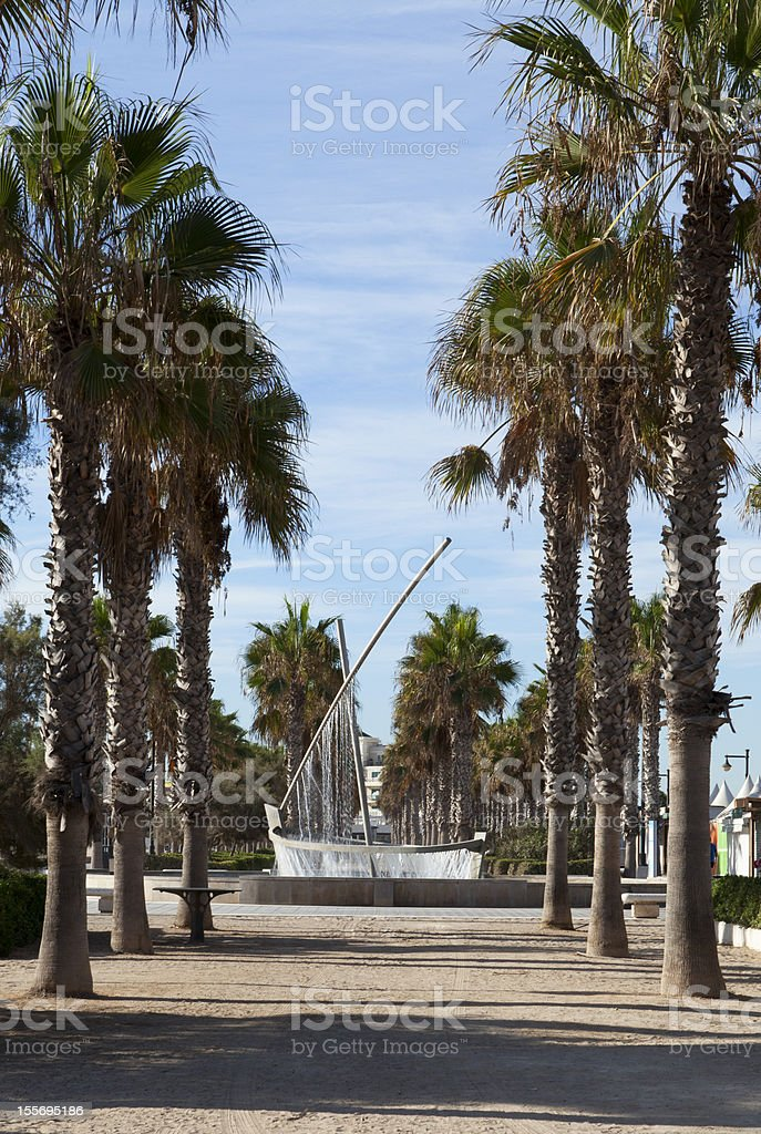 Fountain on the beach in Valencia royalty-free stock photo