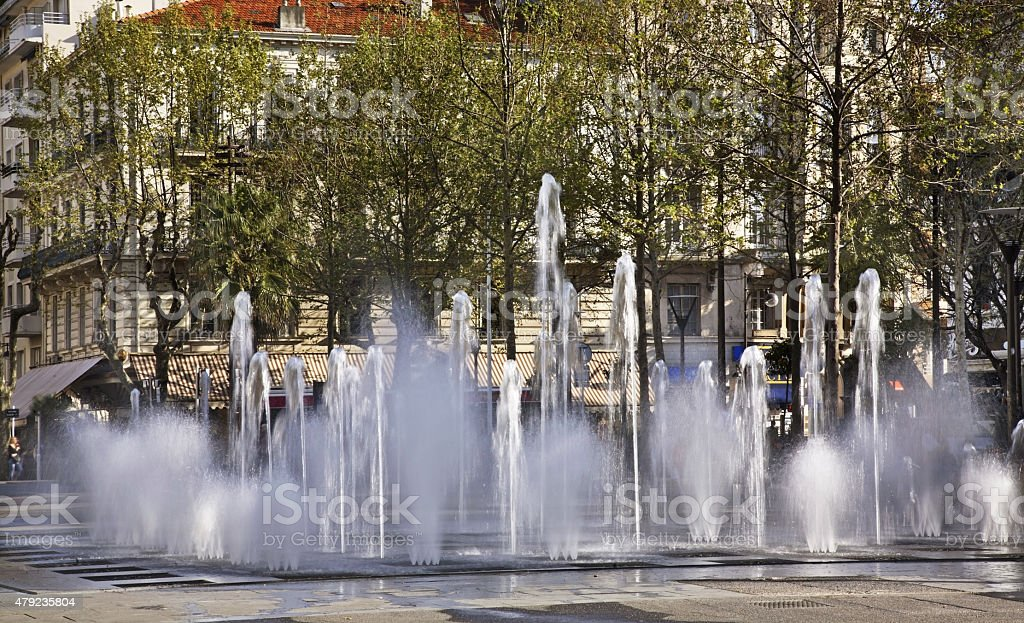 Fountain on the Charles de Gaulle square in Antibes. France stock photo