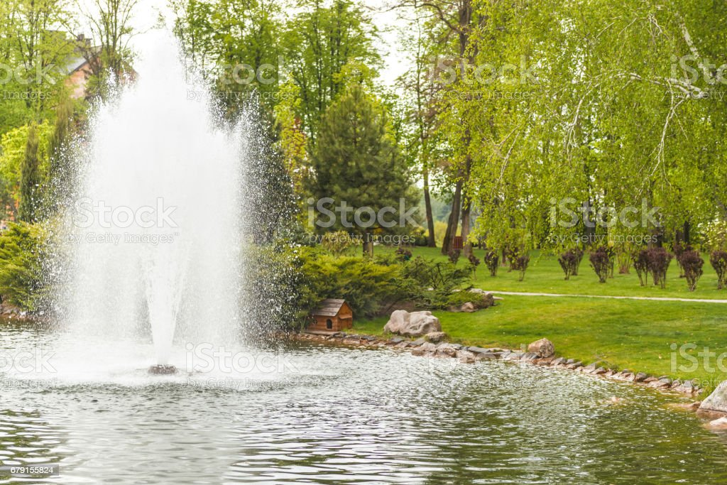 Fountain on the lake in a landscape park. stock photo