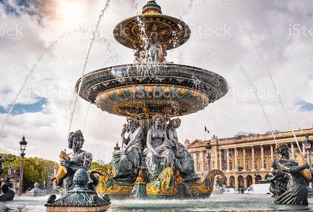Fountain on the Place de la Concorde in Paris royalty-free stock photo