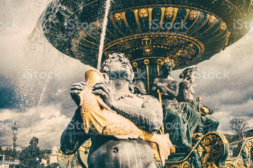Fountain on the Place de la Concorde in Paris stock photo