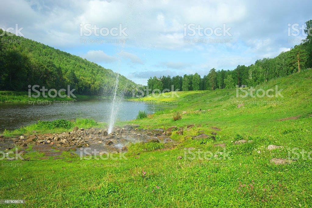 Fountain on the river Ai. stock photo