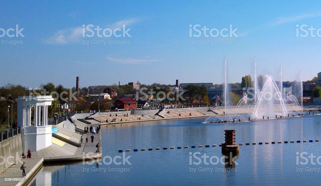 Fountain on the river in Vinnytsia. stock photo