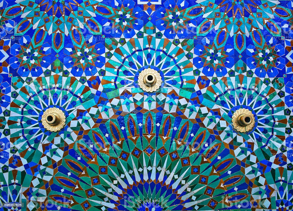 Fountain on the wall of Hassan II Mosque in Casablanca stock photo