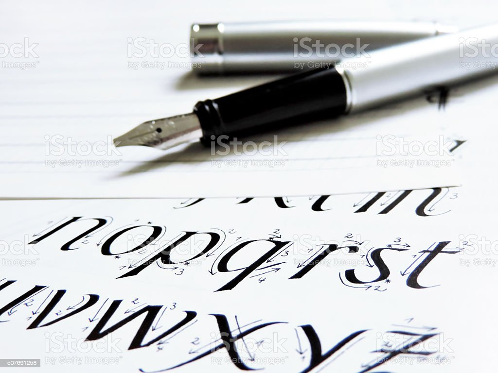 Fountain pen, calligraphy stock photo