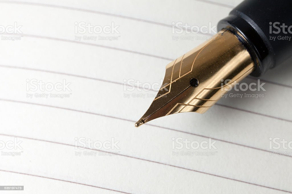 Fountain pen close up stock photo