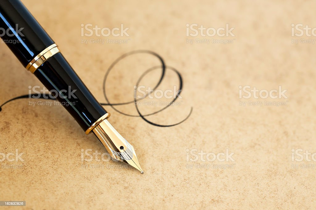 Fountain pen & flourish stock photo