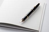 fountain pen on blank book