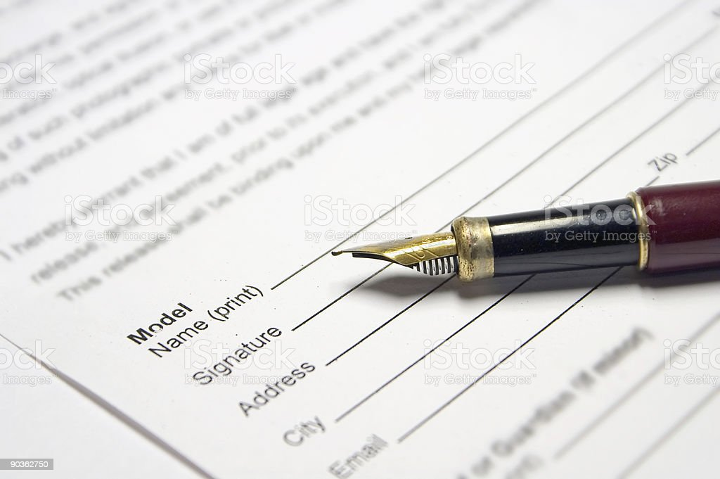 Fountain Pen On Document royalty-free stock photo
