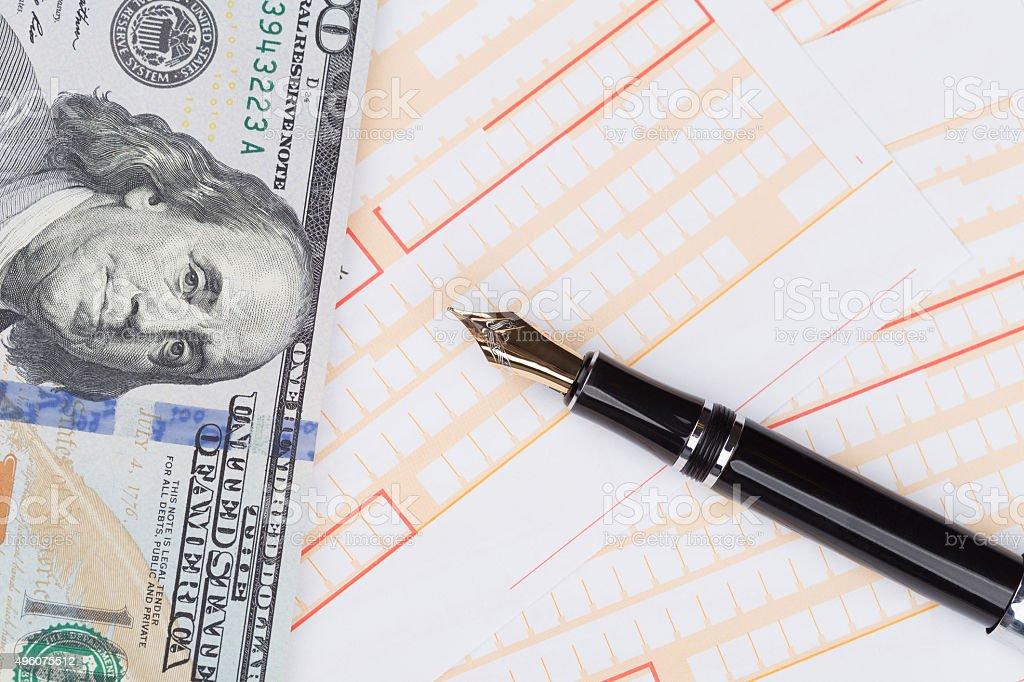 Fountain Pen on empty Remittance slip stock photo