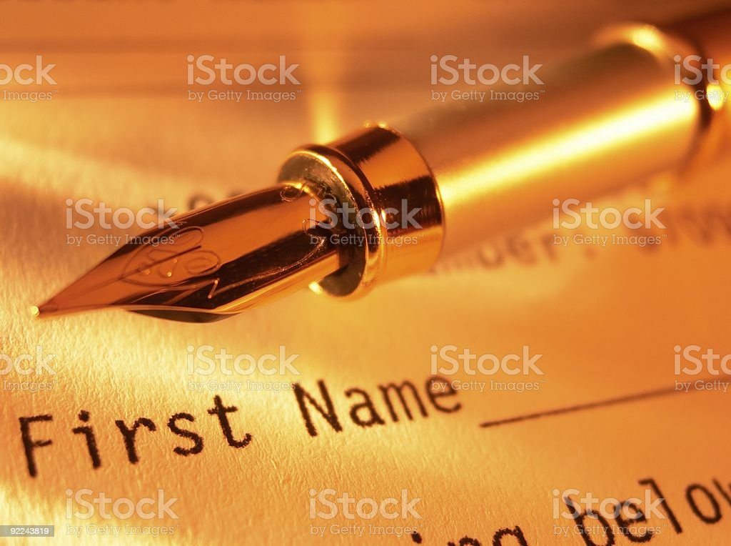 Fountain pen on the form royalty-free stock photo