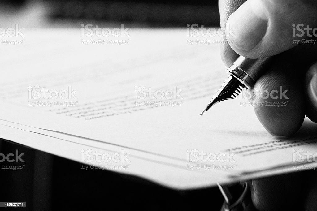 Fountain Pen Signature. stock photo