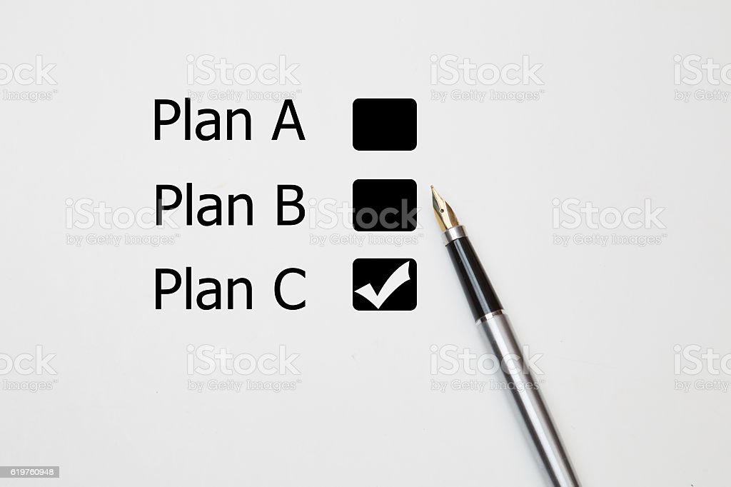 fountain pen Tick in Plan C checkbox stock photo