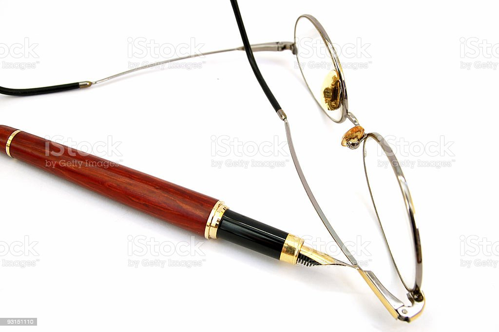 fountain pen with glasses #3 royalty-free stock photo