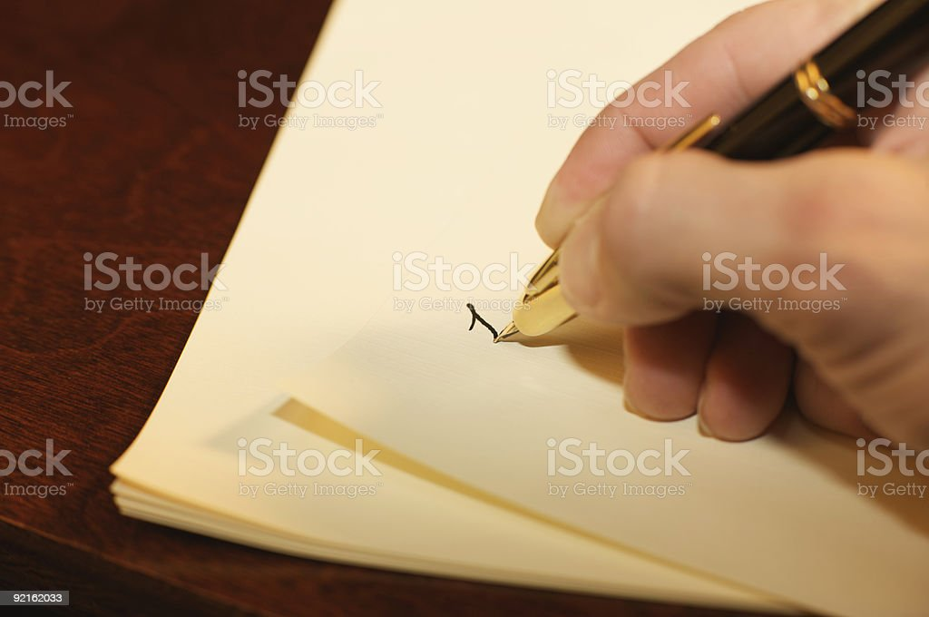 Fountain Pen Writing on Paper royalty-free stock photo