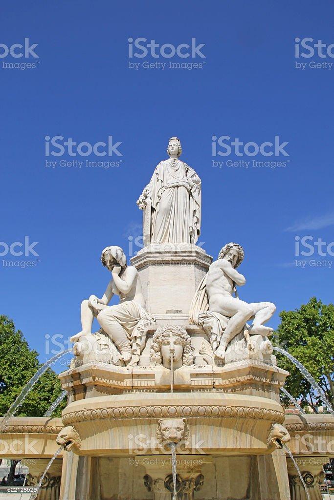 Fountain Pradier, Esplanade Charles de Gaulle in Nimes. stock photo