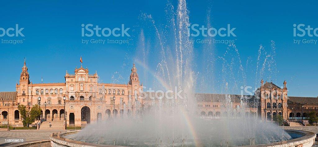 Fountain rainbow Plaza de España Seville royalty-free stock photo