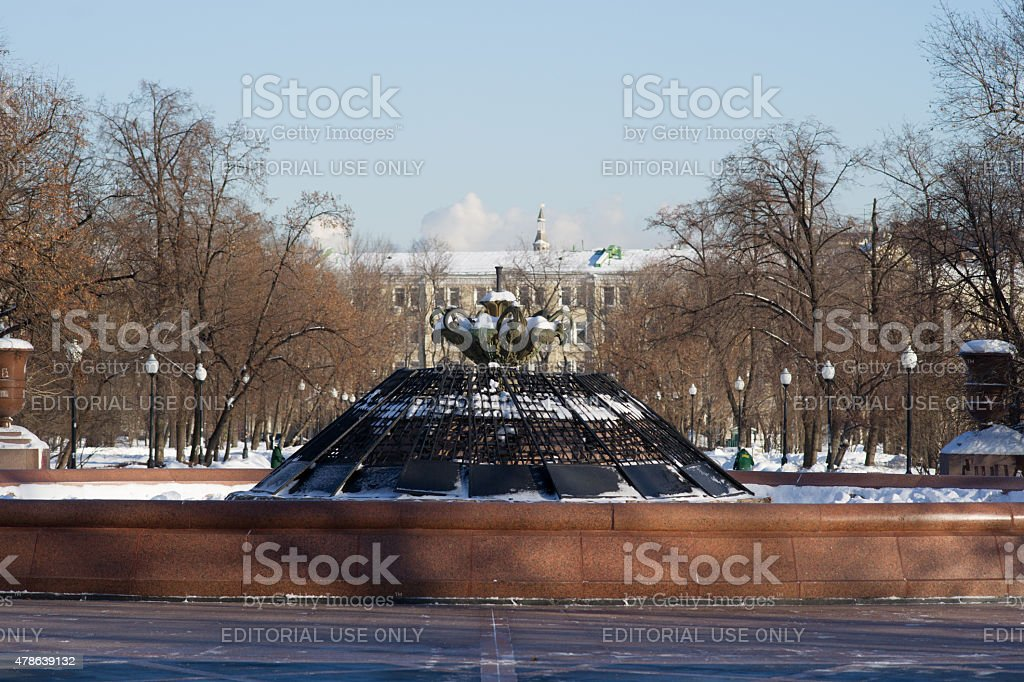 Fountain Repinsky on Bolotnaya square of Moscow in winter stock photo