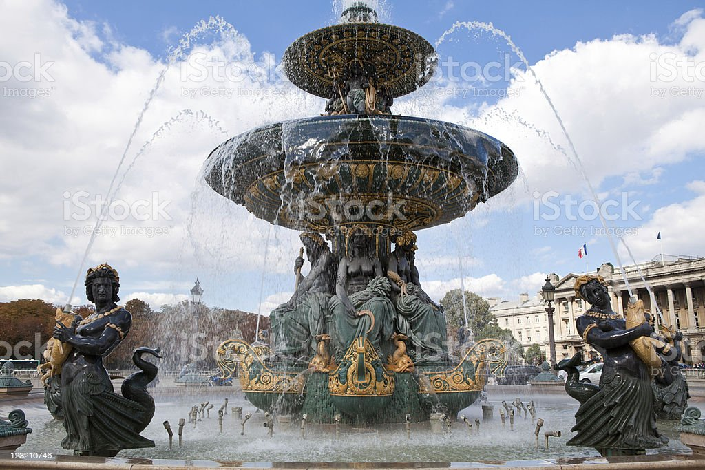 Fountain River Commerce and Navigation on Concord square Paris F stock photo
