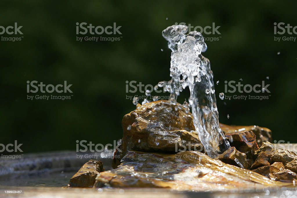 Fountain & Rock Close-up stock photo