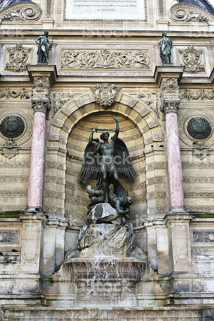 Fountain Saint-Michel, Paris royalty-free stock photo