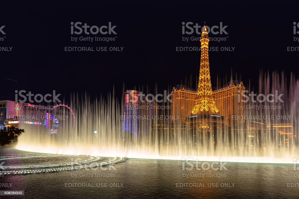 Fountain show Bellagio hotel and Eiffel Tower in Las Vegas stock photo