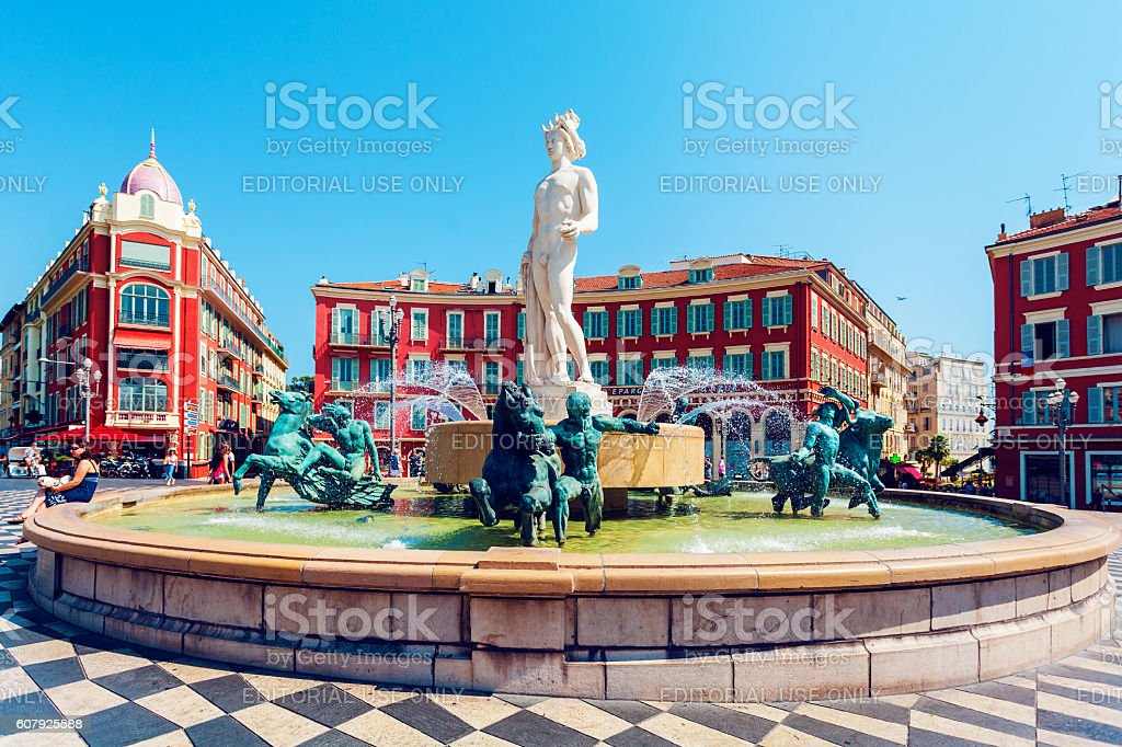Fountain Soleil on Place Massena in Nice, France stock photo